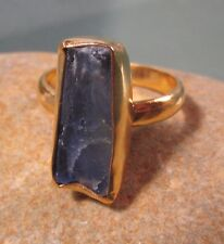 Gold plated brass rough kyanite everyday ring UK P/US 7.75-8. Gift Bag.