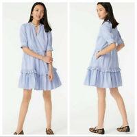 NWOT J.Crew Ruffleneck Tiered Popover Dress Striped Blue/White Size Medium