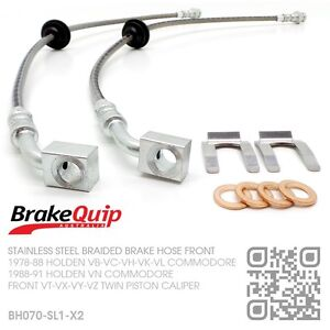 BRAIDED FRONT BRAKE HOSES [HOLDEN VK COMMODORE with VT-VX-VY-VZ CALIPERS] SILVER