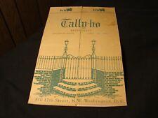 Tally-ho RestaurantVintage October 6, 1949 Dinner Menu - Washington D.C.