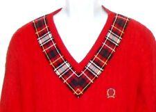 Tommy Hilfiger Golf Crest Men's Xl Red Cotton V Neck Cable Knit Sweater