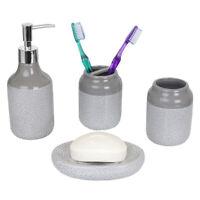 Crackle 4 Piece Ceramic Bath Accessory Set Grey EBY60278