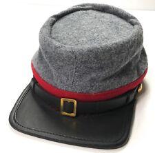 CIVIL WAR CSA CONFEDERATE ARTILLERY GREY WOOL KEPI FORAGE CAP HAT-XLARGE