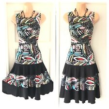 Gorgeous Joseph Ribkoff Sleeveless Multi Colour Stretchy Floaty Dress Size 14