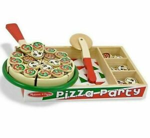 Melissa and Doug Pizza Party Wooden Play Food Set 54 toppings age 3+ 167