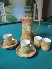 LIMOGES COFFEE POT AND ROSENTHAL COFFEE CUPS WITH SAUCERS, SAME PATTERN