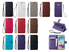 For Samsung Galaxy Ratro Flower Pattern PU Leather Flip Stand Wallet Case Cover