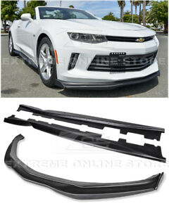 For 16-UP Camaro RS | T6 Style Front Lip CARBON Side End Caps W/ Side Skirts