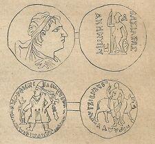 A4225 Monete di Bactria - Incisione - Stampa Antica del 1887