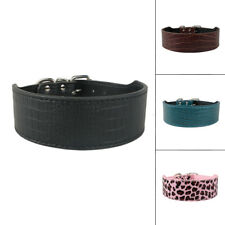 "2""Wide Luxury Croc PU Leather Dog Collar S M L XL Black Brown Pink Leopard Green"