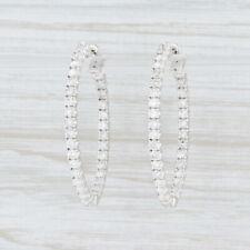 New 1.97ctw Diamond InsideOut Hoop Earrings 14k White Gold Pierced Oval Hoops