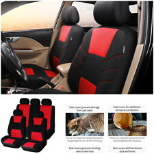9pcs Universal Red Car Seat Protection Covers Full Set Cushion For Four Seasons