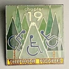 Telephone Pioneers Of America Chapter 19 Handicap Volunteer Pin Vintage Enameled
