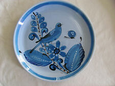 """Vintage Tonala Mexico Blue Bird Flowers Butterfly-13"""" Round Serving Platter/Tray"""