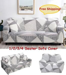 1-4 Seater Slipcover Sofa Cover Spandex Stretch Cover for Living Room Geometric