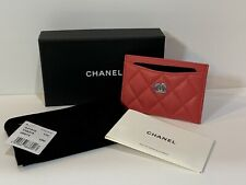 Chanel Dark Pink Caviar Card Holder Light Gold Hardware