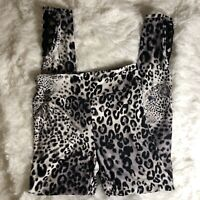 Super Soft Womens No Boundaries White Leopard Leggings With Ankle Cut Out Detail