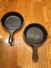 2- Lodge 5 Inch Round Seasoned Cast Iron Mini Skillet H5MS Frying Pans Preowned