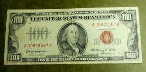 1966 UNITED STATES $100 RED SEAL ONE HUNDRED DOLLAR BILL NOTE  FINE