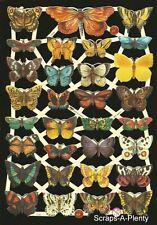 German Embossed Scrap Die Cut Relief - Colorful Butterflies / Moths   EF7336
