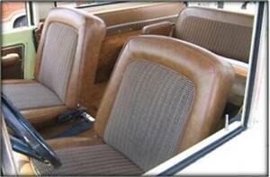 1968 -77 Ford Bronco Seat Upholstery Front Only Med. Ginger & Brown Houndstooth