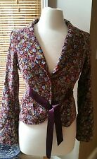 🌻Free People🌻 Velvet Floral Purple Jacket Blazer 🌻Hippie Boho 🌻Chic Size 6