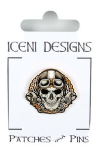 Biker Skull Pin Badge