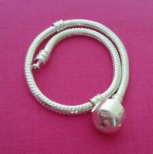 """Silver Plated Chain Bracelet Fit European Beads Charms With Snap Clasp 7.5"""""""