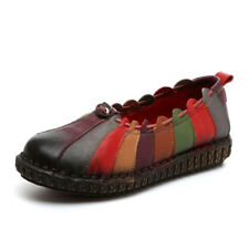 SOCOFY Leather Rainbow Weave Comfortable Vintage Flat  Shoes