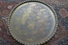 """Huge 35"""" Vintage Engraved Brass Copper Arabic Moroccan Table Wall Tray Animals"""