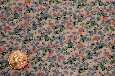 G 1½ Yds Vtg Blue Floral Tiny Print 100% Cotton Quilt Fashion Hobby Fabric