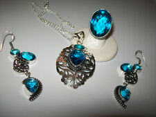GORGEOUS TOPAZ PENDANT/DANGLES AND RING SIZE 5.25
