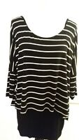 White House Black Market Black White Stripe Tunic Women's M Stretchy Stylish