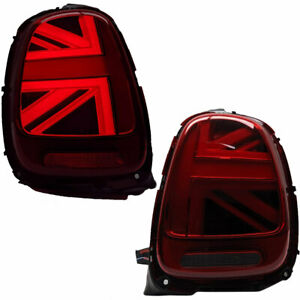 Red Union Jack LED Taillights For 14-19 F56 Mini Cooper Base & S