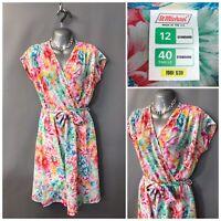 Vintage St Michael by M&S Bright Pink Mix Floral Wrap Dress UK 12 EUR 40