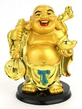 Feng Shui Laughing Buddha Gold Statue Figurine Wealth Happy Money (388)