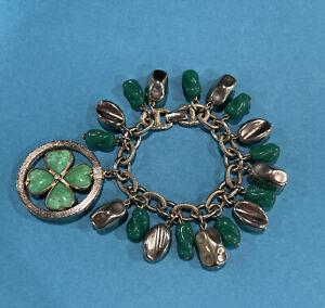 Vintage Goldette Swivel (Spinner) 4 Leaf Clover Bracelet Green Glass & Gold Tone