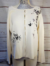 Vintage TOGETHER Beaded Embroidered White Cardigan Sweater Womens 1X Seed Beads