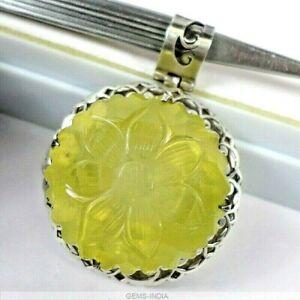 48 Gms Natural Carved Citrine Gemstone Stunning Huge 925 Silver Pendant