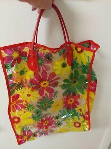 Retro vtg shopping Bag Tote Yellow vinyle Plastic Flower Retro Clear 1960's 70's