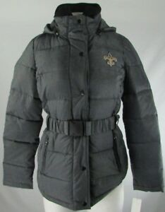 New Orleans Saints NFL Team Apparel Women L/S Quilted Hooded Puffer Winter Coat