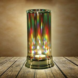 SIGNALS Rainbow Hurricane Candleholder - Crystal Prism Glass Cylinder NEW