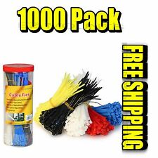 1000-Pack Assorted Cable Zip Tie Set Various Colors w/Cutting Tool (New)