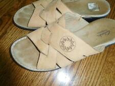 CLARKS shoes  Tan Leather   Sandals  Slides   Size 10W   EUC