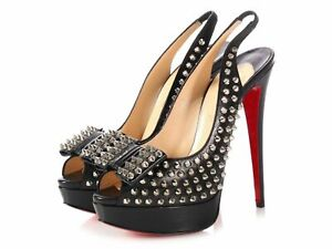 CHRISTIAN LOUBOUTIN LADY PEEP 150 SPIKES BLACK LEATHER SLINGBACK PEEP PUMPS 37.5