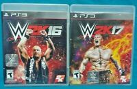 WWE 2K16 + 2K17 Wrestling - Sony PlayStation 3 PS3 Game Lot Working Tested