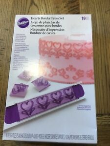 WILTON  Hearts Border Press Set Birthday Valentines Cake Tin Decorating Icing