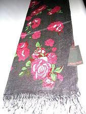 Großer Schal Soft Acrylic ca. 70 x 190cm Grau mit Rosen  Neu OVP