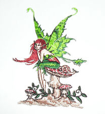 """Amy Brown Thinking of You Fairy Mushroom Embroidered iron-on Patch 4"""""""