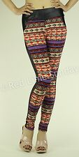 New Black Faux Leather Aztec Tribal Color Casual Leggings Tight Pants Pockets